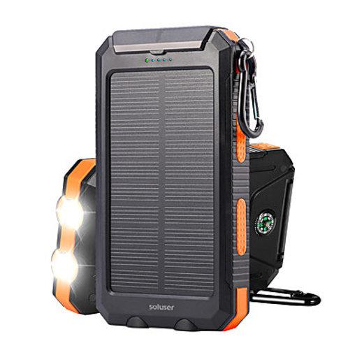 Solar Power Bank 10000mAh DC 5V 1A Solar charger Portable IP67 Waterproof Dual U