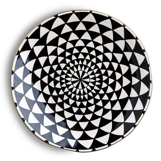 Black & White Medallion Dinner  Plate