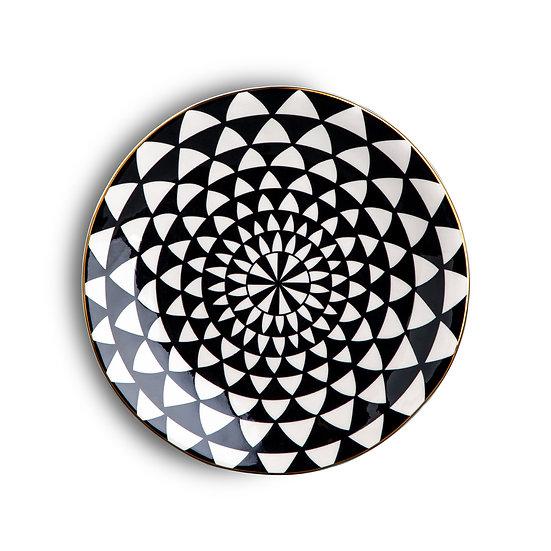 Black & White Medallion Salad Bowl