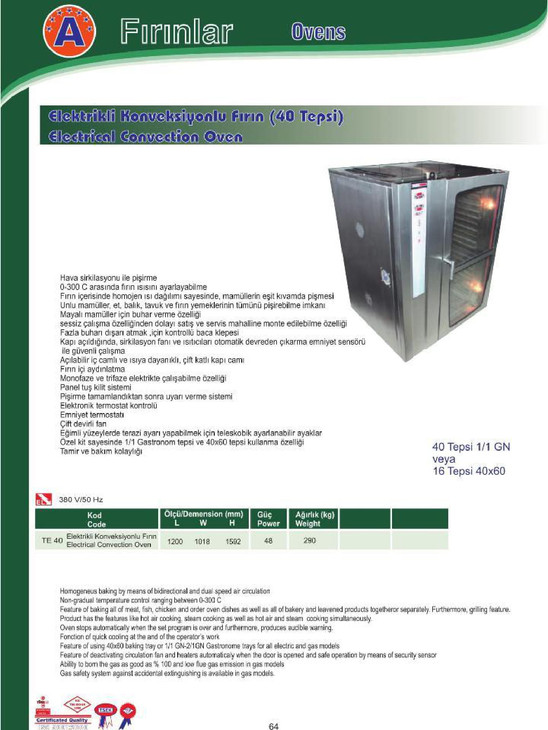 Elektrikli Konveksiyonlu fırın (40 Tepsi)