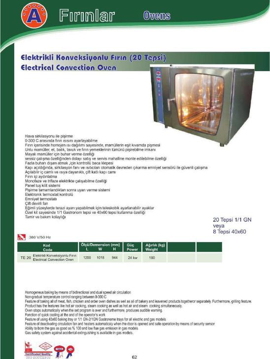 Elektrikli Konveksiyonlu fırın (20 Tepsi)