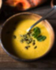 Sopa de calabaza y Guarnición
