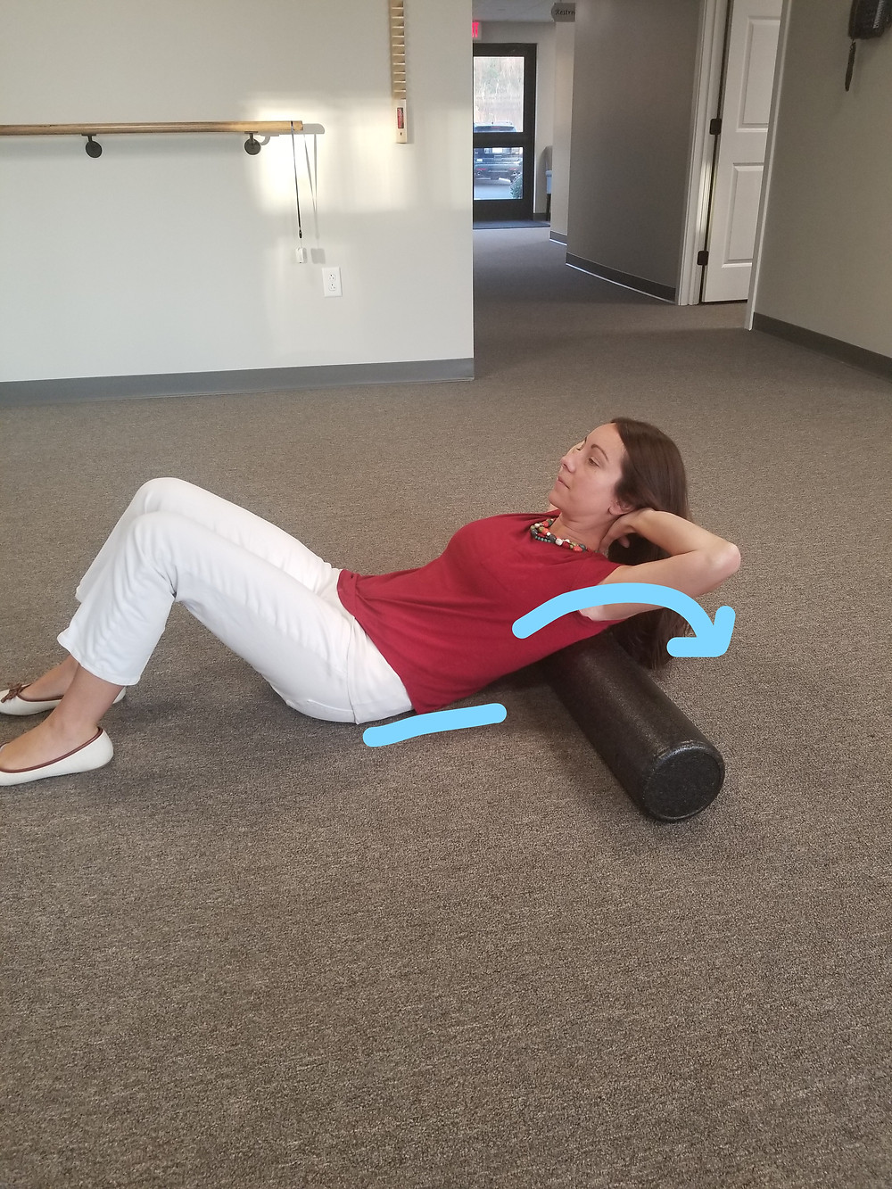 Upper thoracic extension on foam roll