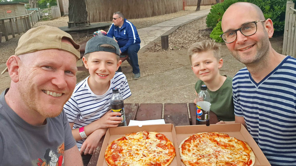 Daddy & Dad - Yummy pizzas from the Clip 'n' Climb Cafe