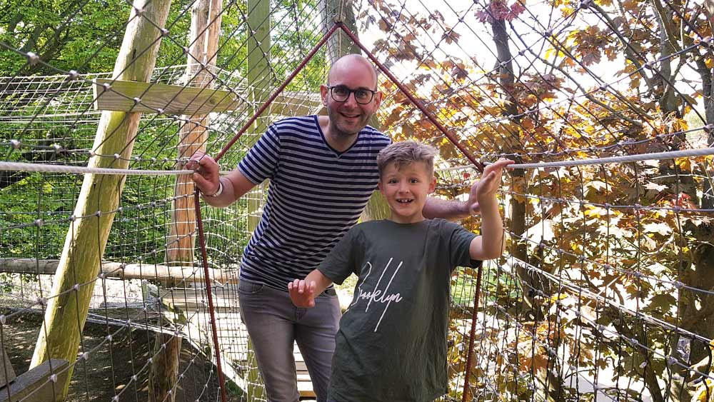 Daddy & Dad at Wicksteed Park - Dad and Richard in the heights of the treetop walk