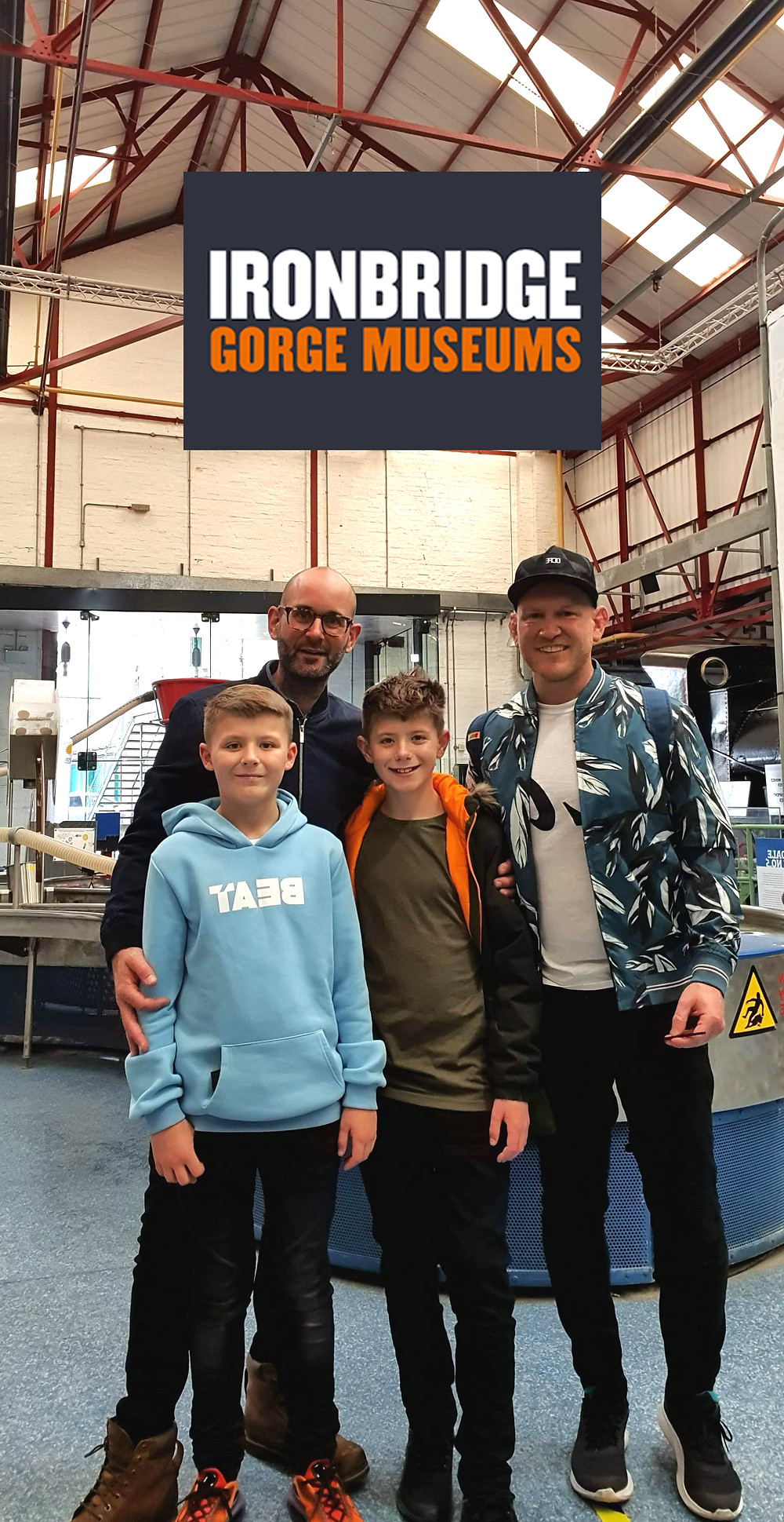 Daddy & Dad and boys at Enginuity science museum at Ironbridge Gorge