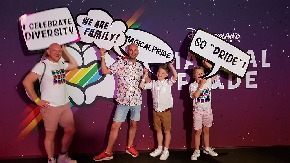 Daddy & Dad celebrating Magical Pride with Lyall and Richard