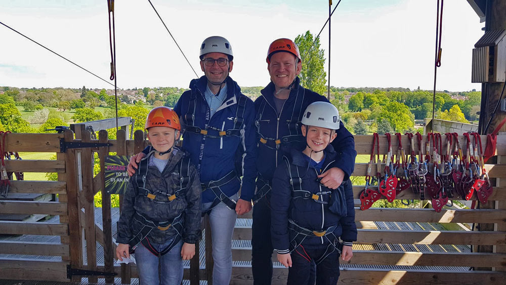Daddy & Dad family just moments before experiencing Rush - one of the UK's longest, fastest zip-wires