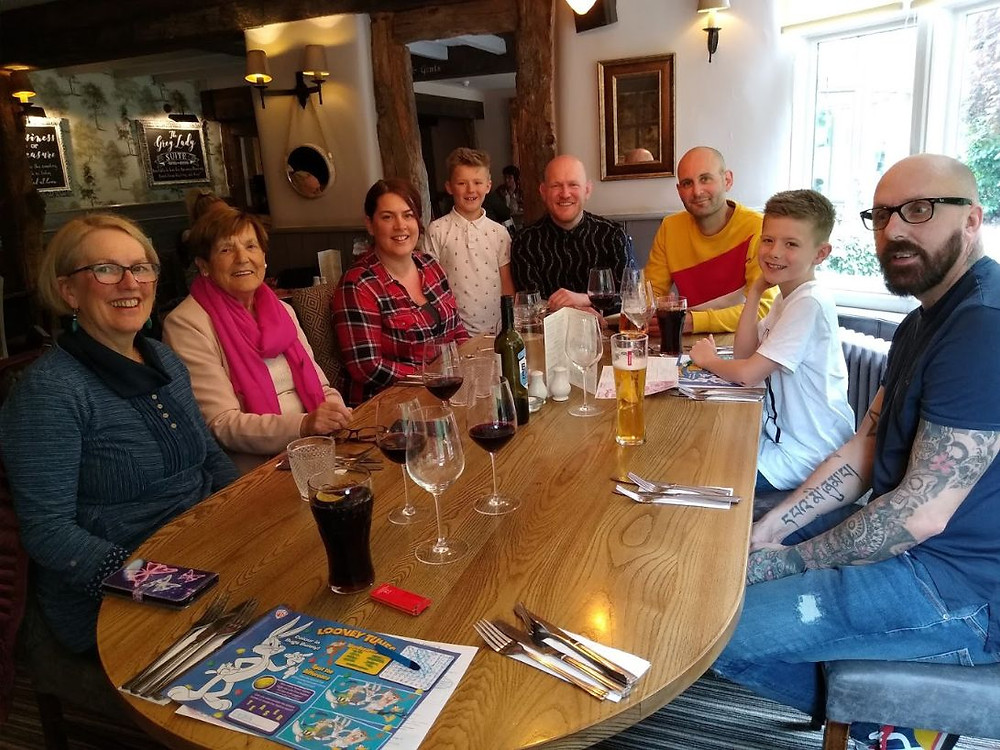 Daddy and Dad, Lyall and Richard celebrating their family birthday at the Old Mill Pub