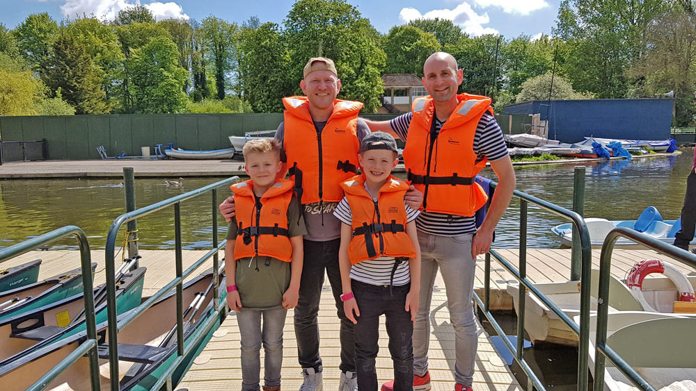 Daddy & Dad - Getting ready for the boat rides at Wicksteed Park