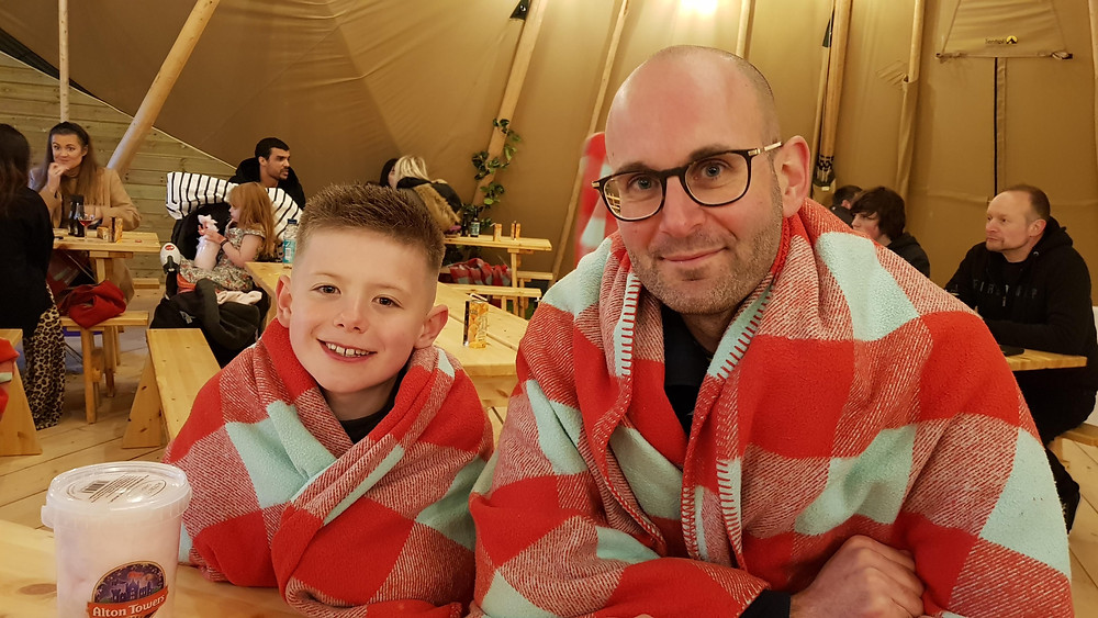 Daddy & Dad in the teepee at the Alton Towers Resort Stargazing Pods site