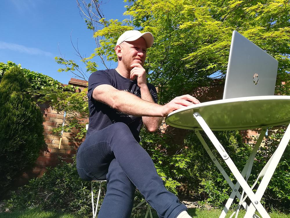 Daddy & Dad | Daddy blogging in the garden