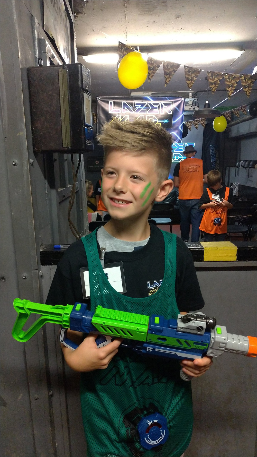 Daddy & Dad - Lyall looking handsome with his Lazer M.A.D blaster!