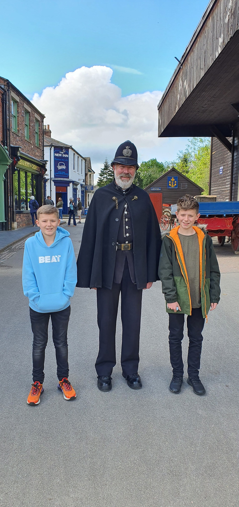 Lyall and Rich with Blists Hill's resident Police Officer Daddy & Dad Ironbridge Gorge Museums
