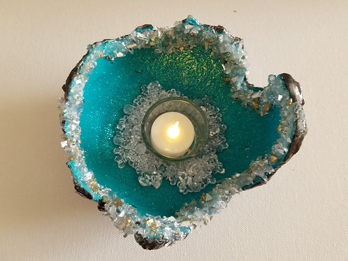DRAGON EGG CANDLE HOLDER -teal3
