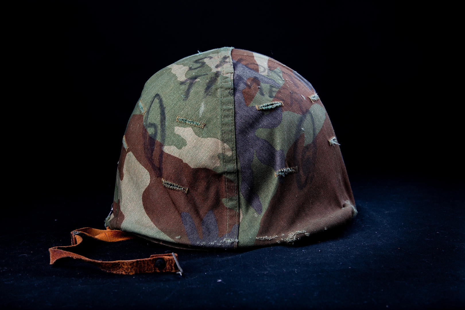 """A helmet from the Vietnam War-era was donated to the Syracuse Vet Center. The word on the helmet said """"short-timer,"""" refering to a soldier nearing the end of their service."""