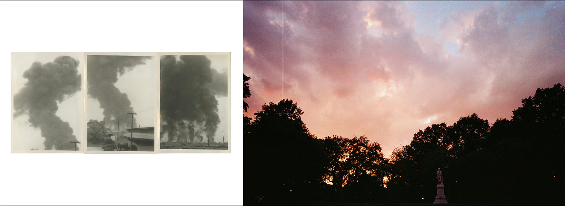 This is a spread design of the book, the final product of this project.  Three pictures of a bombing on the left was taken by Jim Koehler when he was in Danang. On the right, my picture was taken at a park.