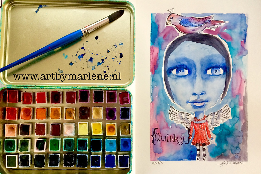 Watercolour play using a stampset by Morvana Feyant
