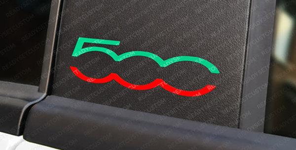 Pair of Fiat 500 Door Pillar Decals - Italian Green & Red