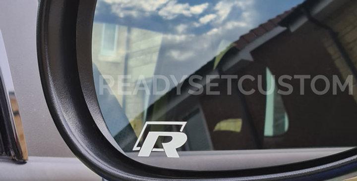 3x VW R Wing Mirror Decals for Golf, Passat, Touareg