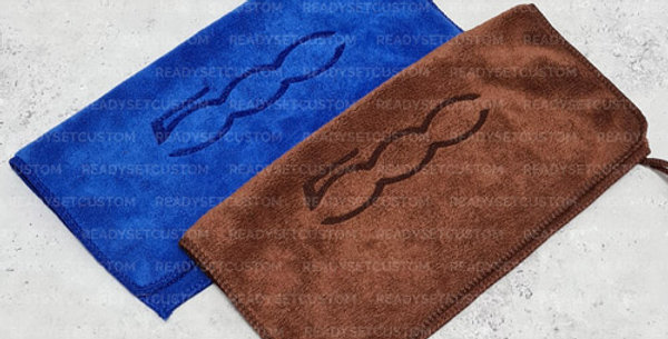 Fiat 500 Soft Microfibre Car Cleaning Cloth - Blue or Brown