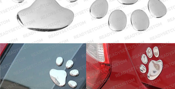 Pair of Silver 3D Paw Print Car Decals