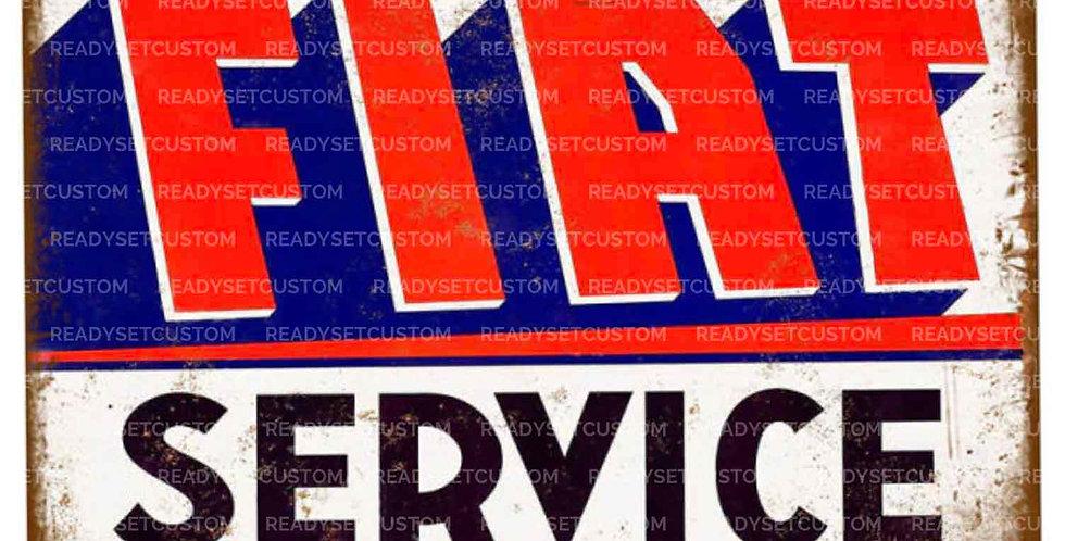 Retro FIAT SERVICE Metal Wall Sign / Plaque