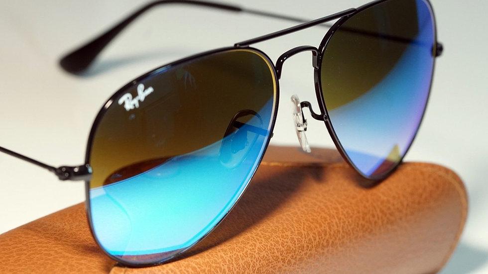 RAY BAN AVIATOR RB Black Frame Blue Gradient Flash Lens