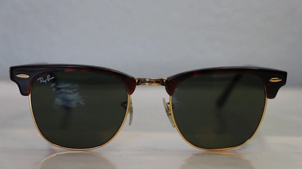 Ray Ban Sunglasses Clubmaster Gold, Green Lens