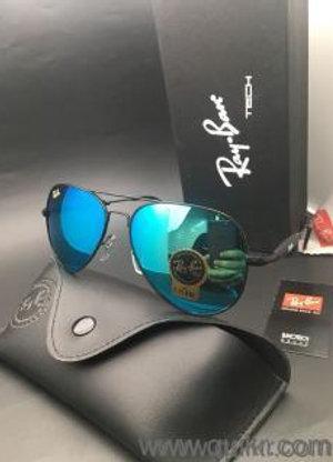 Ray Ban Sunglasses Aviator  Blue Lens / Black Frame Standard Size