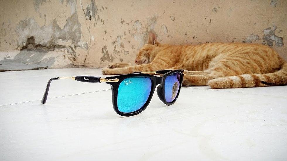 Ray-Ban New Wayfarer RB  Matte Black & Gold Sunglasses Blue Lens