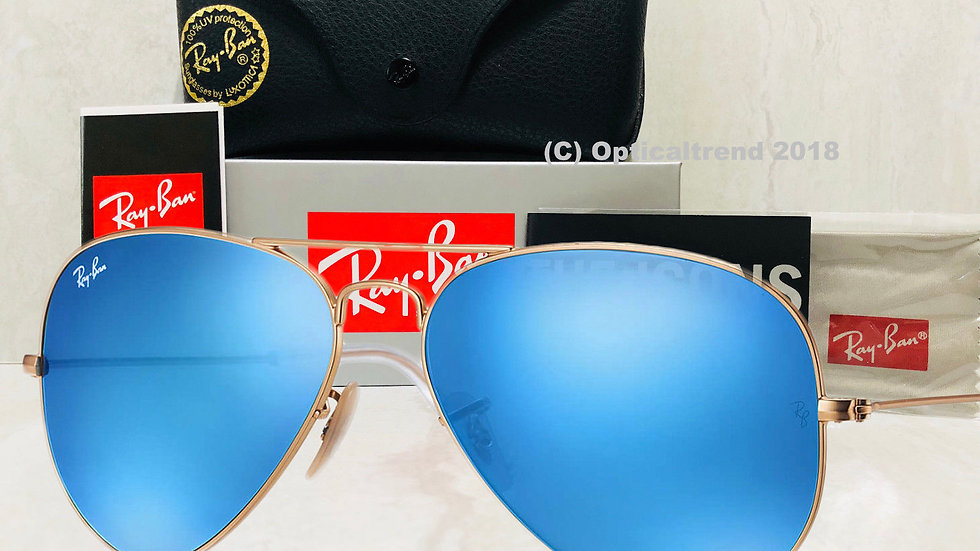 New Ray-Ban Aviator Gold Frame Flash Mirror Blue Sunglasses