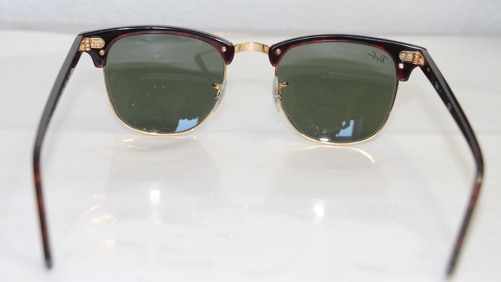Ray Ban Sunglasses Clubmaster Tortoise Gold, Green Lens