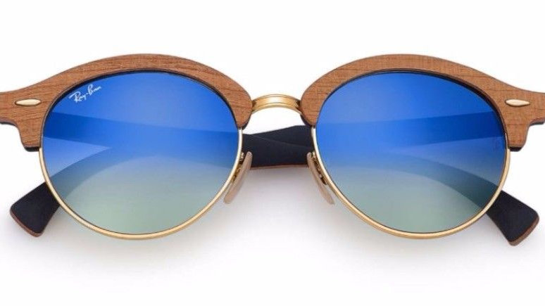 Ray Ban Sunglasses Clubmaster RB Wood Gold Frames Blue Lens