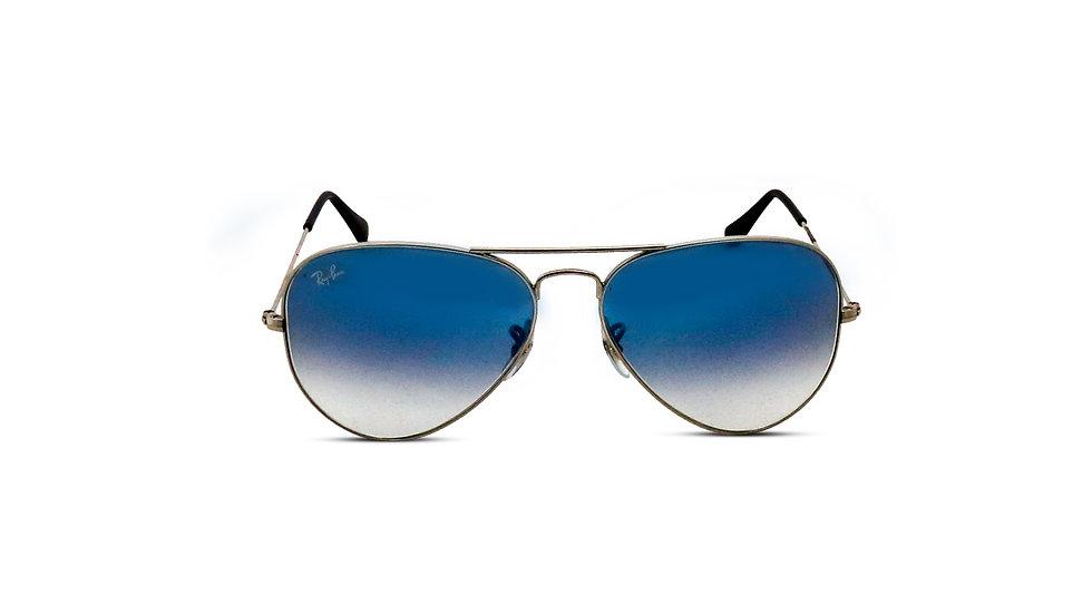 Aviator Sunglasses Matte Black w/Blue