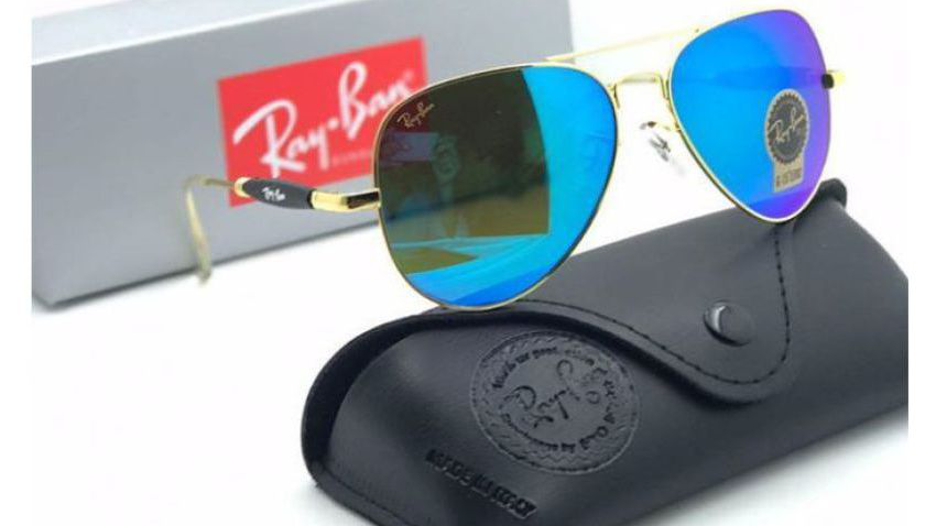 Gold Frame Blue Lens Aviator Sunglasses