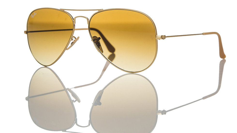 Ray-Ban Aviator Sunglasses RB  Matte Gold/Brown Shaded