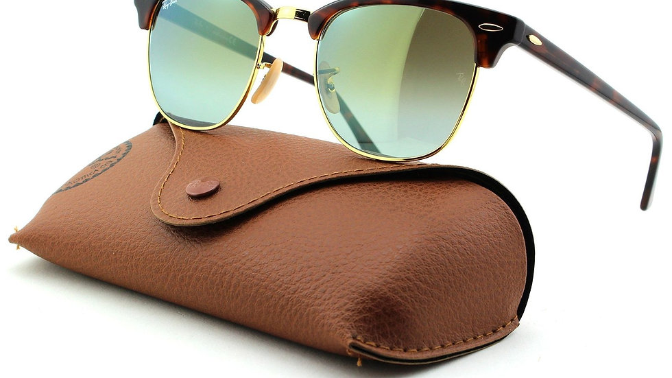 Ray-Ban RB Clubmaster Sunglasses (Shiny Red Havana Frame/Gre