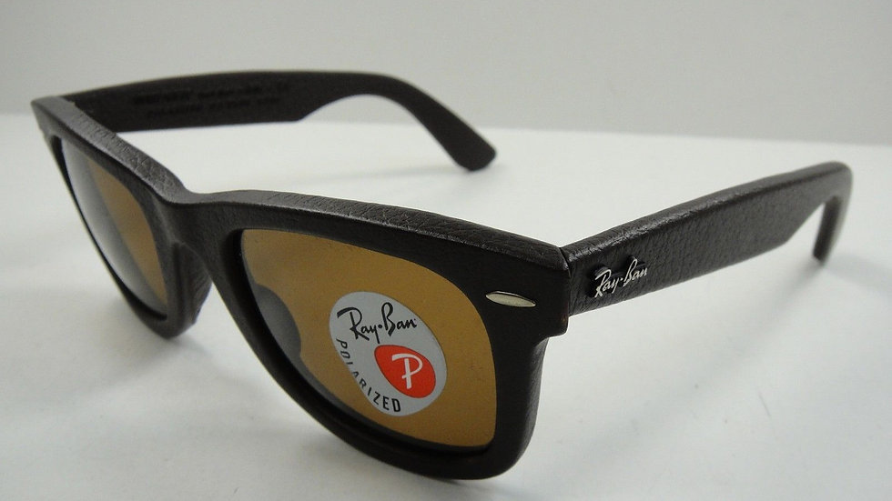 RAY-BAN WAYFARER LEATHER POLARIZED SUNGLASSES RB