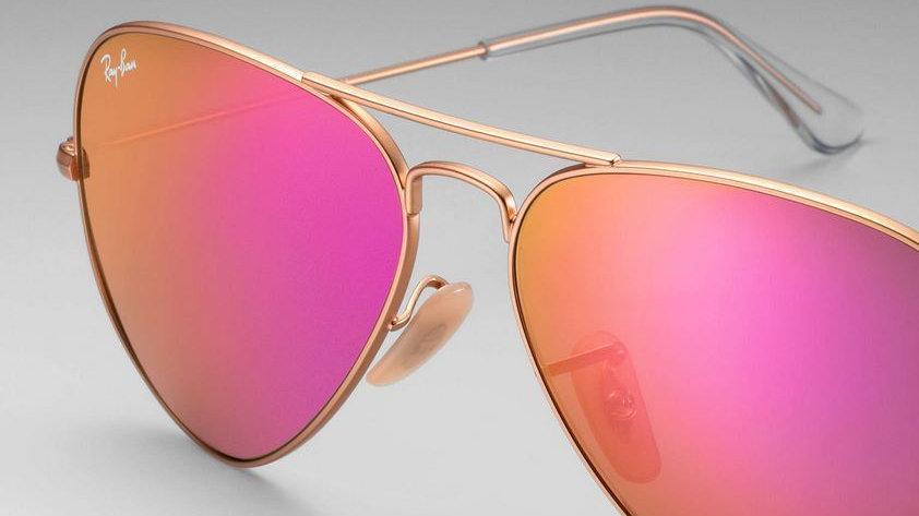 Ray Ban Aviator RB Gold frame/Fuschia Pink mirror