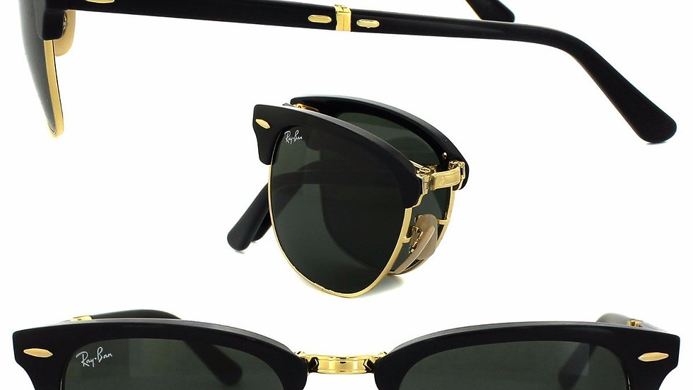 NEW Ray Ban Clubmaster  Black Gold Frame Green Lens With Box