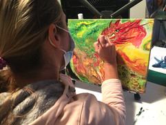 Painting a Dragon Over Pouring Art Background