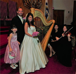 Harpist Trio with Bride and flower girl.