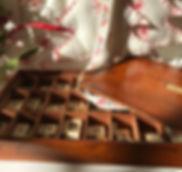 antique box with bone alphabet letters f
