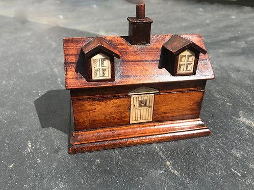 Antique Treen Writing Box - House Shape