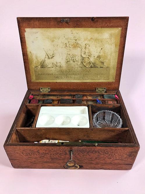 Antique Artist Box  Trade label - R Ackermann