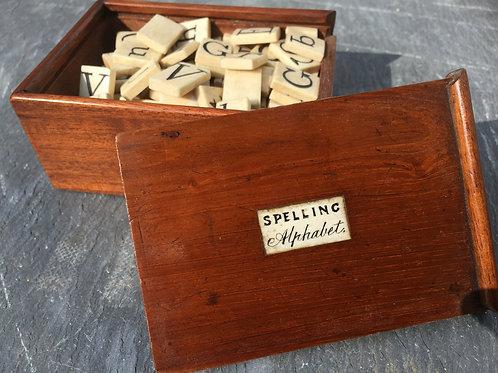 Antique Spelling & Alphabet Box & 100 Bone Letters