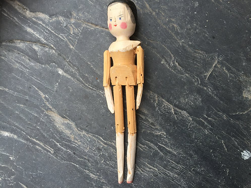 An Antique  Grodnertal Wooden Peg Doll