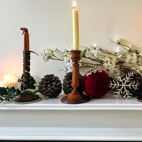 Antique Treen & Metal Spiral Candlestick