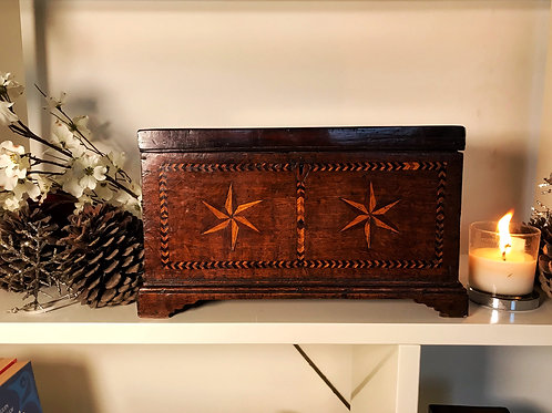 Antique Small Oak Coffer/ Box - Named and Dated
